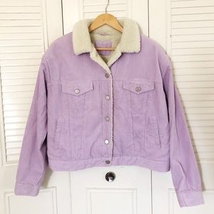 Vintage Sherpa-Lined Corduroy Jacket in Lilac
